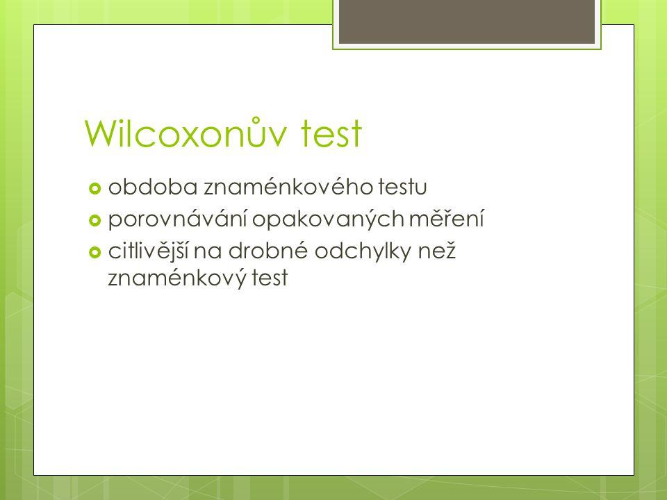 Wilcoxonův test obdoba znaménkového testu