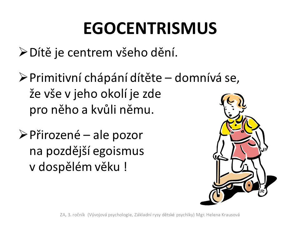 EGOCENTRISMUS Dítě je centrem všeho dění.