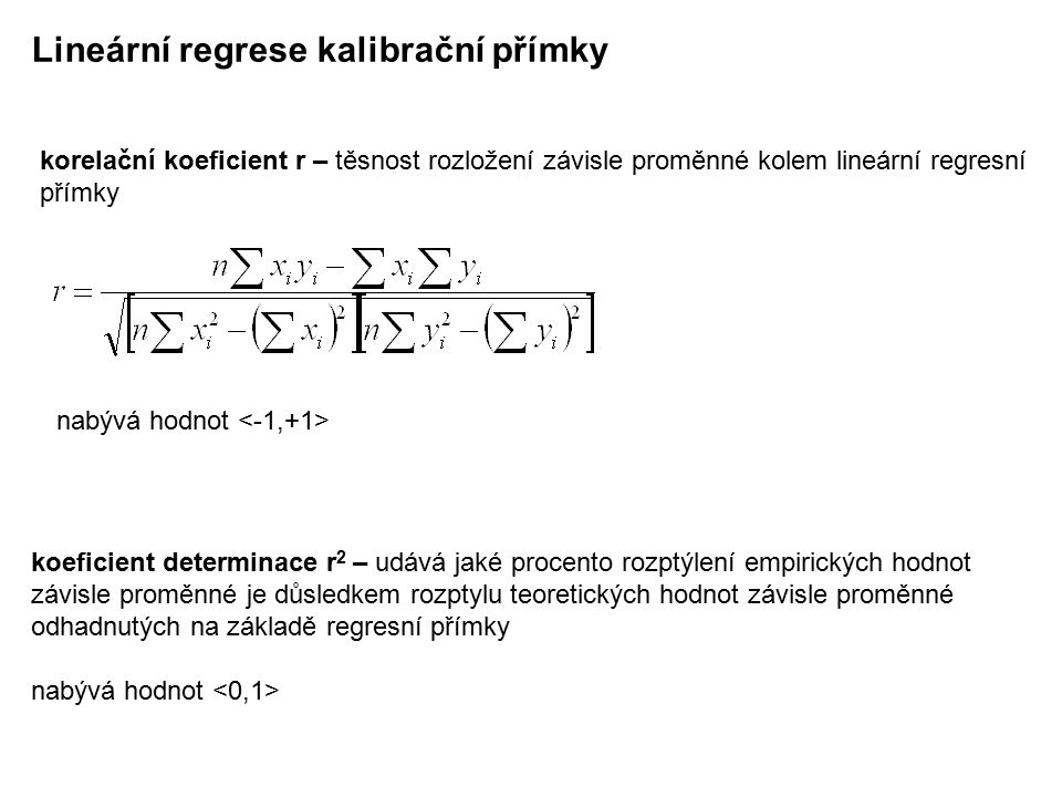 Lineární regrese kalibrační přímky