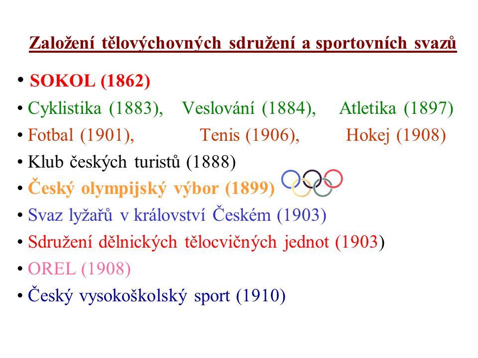 Založení tělovýchovných sdružení a sportovních svazů