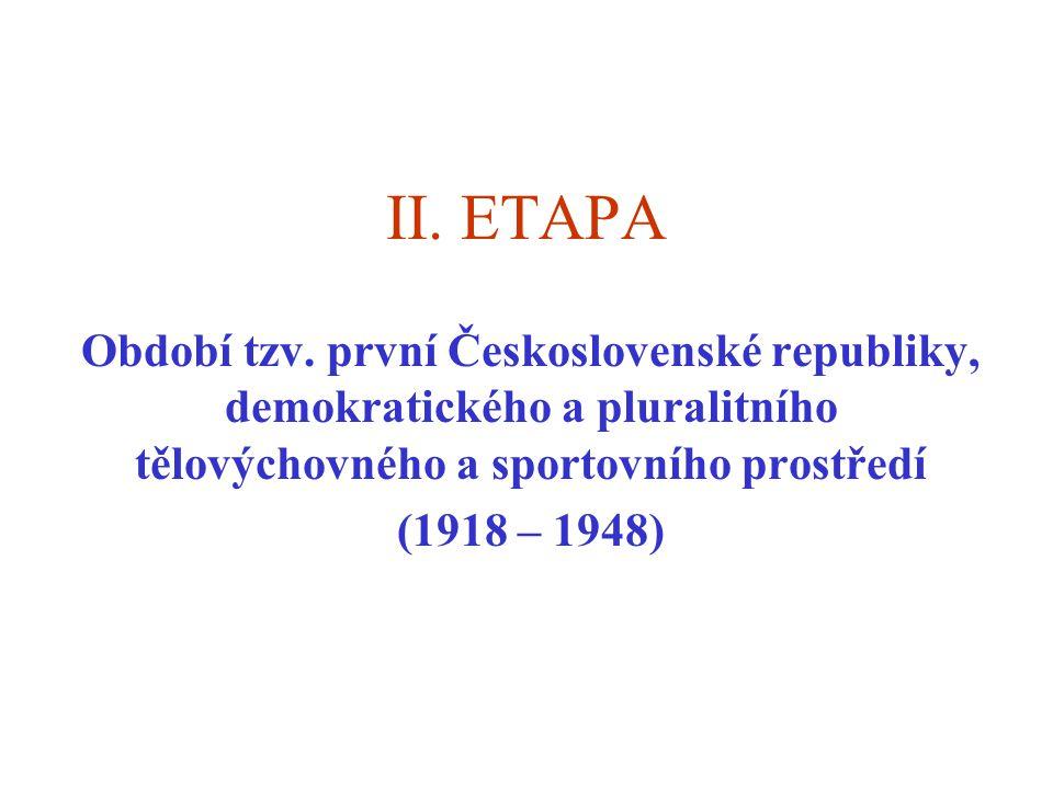II. ETAPA Období tzv. první Československé republiky, demokratického a pluralitního tělovýchovného a sportovního prostředí.