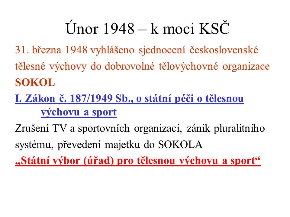 Únor 1948 – k moci KSČ 31. března 1948 vyhlášeno sjednocení československé. tělesné výchovy do dobrovolné tělovýchovné organizace.