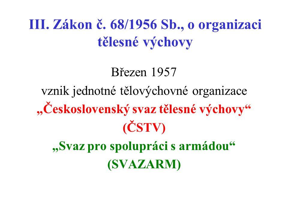 III. Zákon č. 68/1956 Sb., o organizaci tělesné výchovy