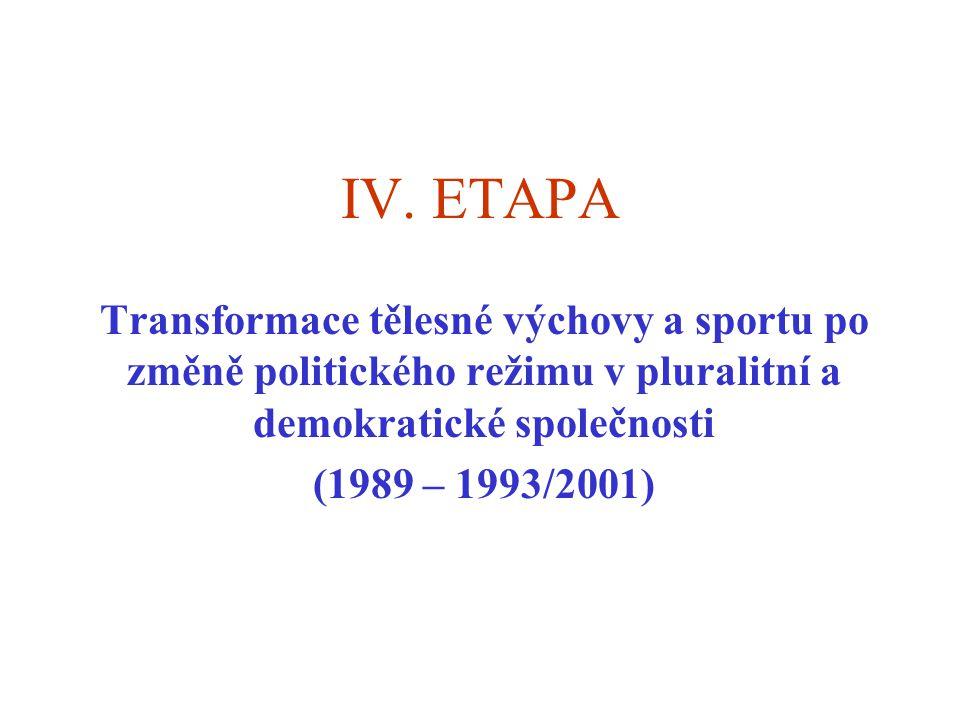 IV. ETAPA Transformace tělesné výchovy a sportu po změně politického režimu v pluralitní a demokratické společnosti.