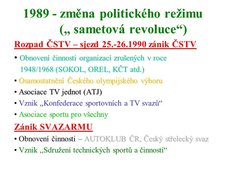 """1989 - změna politického režimu ("""" sametová revoluce )"""