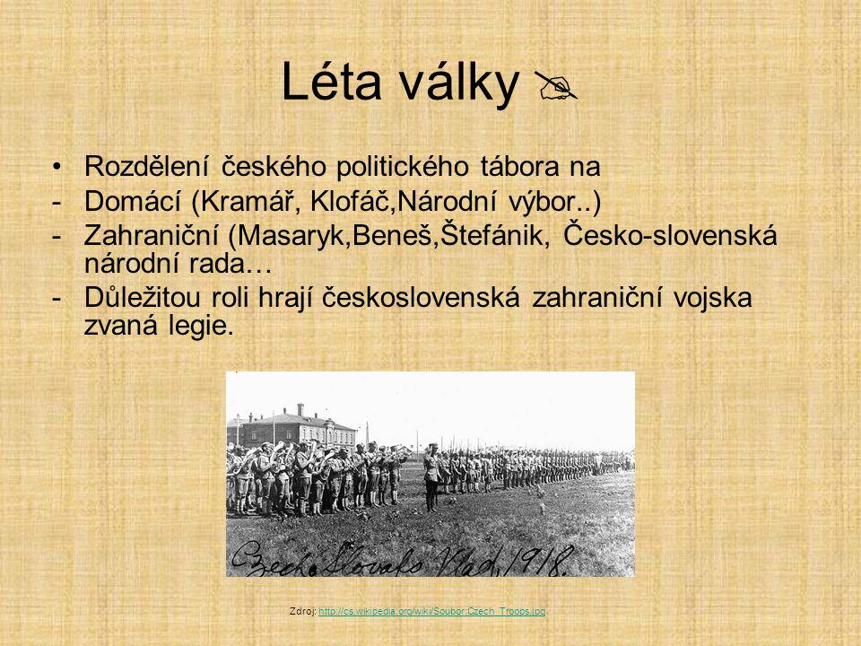 Léta války  Rozdělení českého politického tábora na