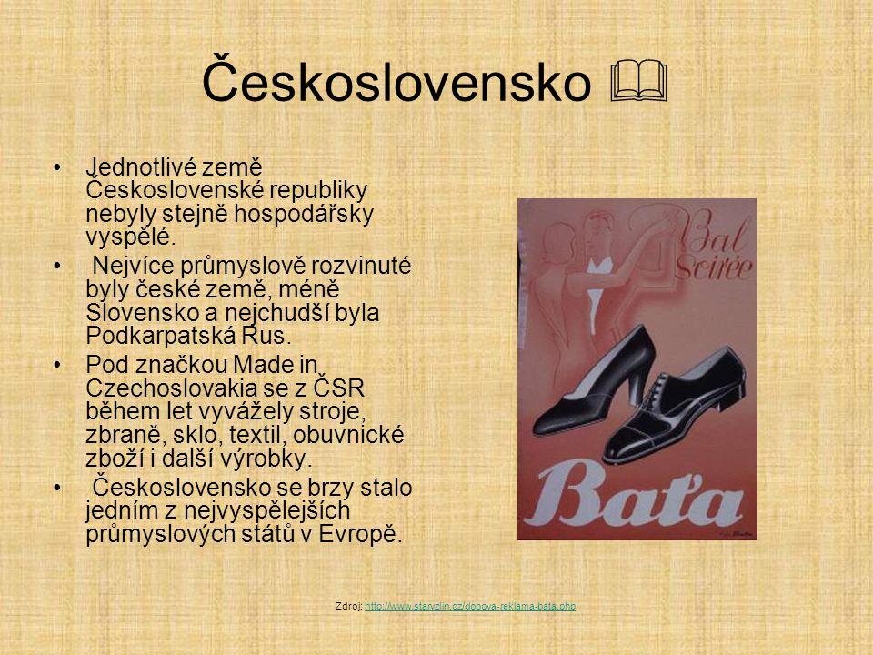 Československo  Jednotlivé země Československé republiky nebyly stejně hospodářsky vyspělé.