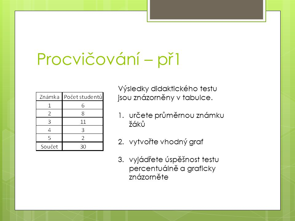 Procvičování – př1 Výsledky didaktického testu jsou znázorněny v tabulce. určete průměrnou známku žáků.