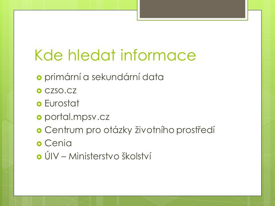 Kde hledat informace primární a sekundární data czso.cz Eurostat