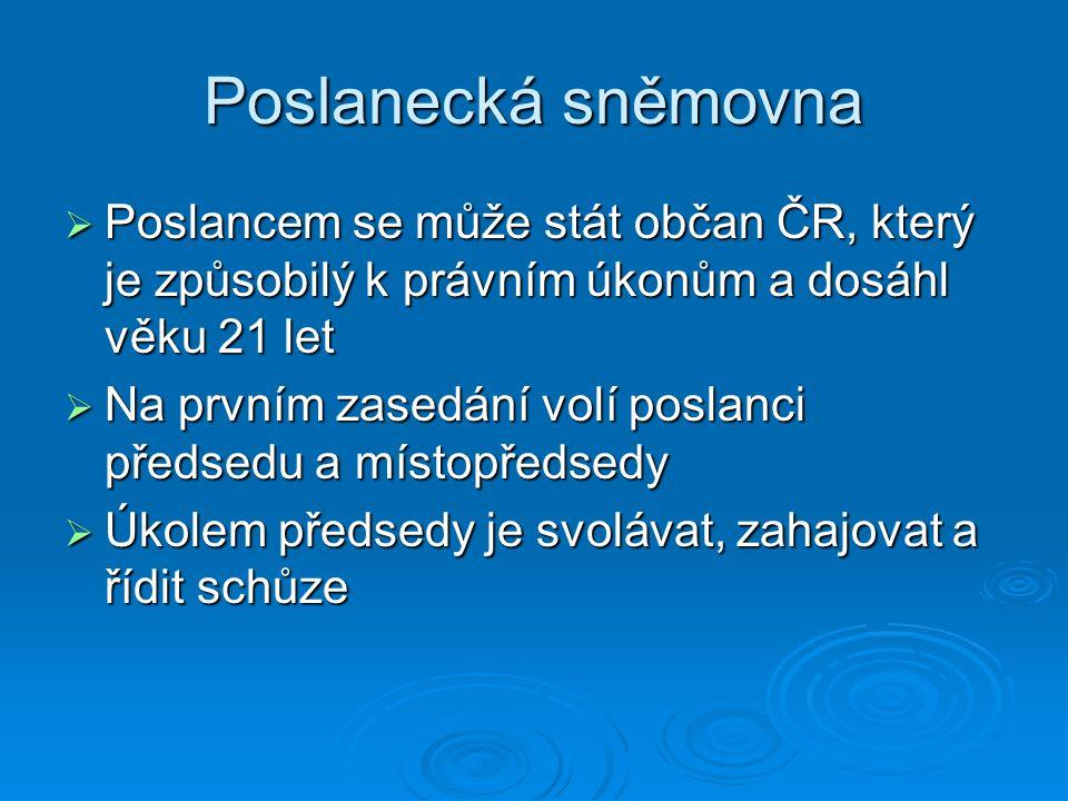 Poslanecká sněmovna Poslancem se může stát občan ČR, který je způsobilý k právním úkonům a dosáhl věku 21 let.