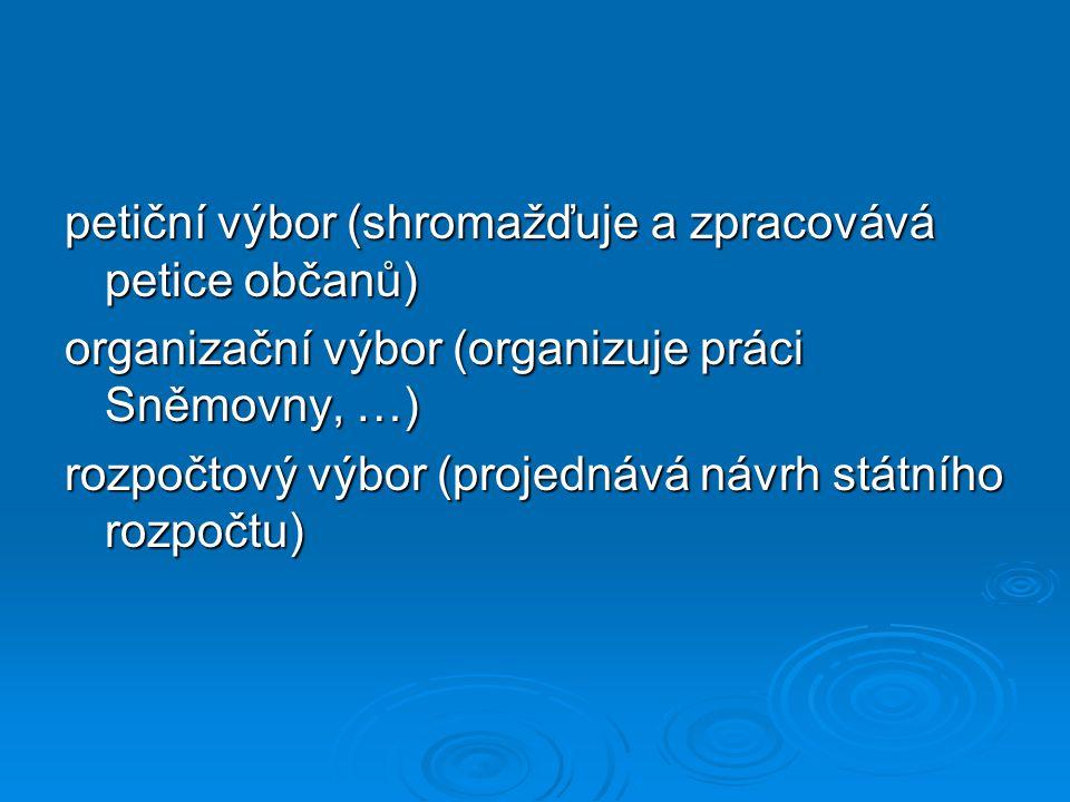 petiční výbor (shromažďuje a zpracovává petice občanů)