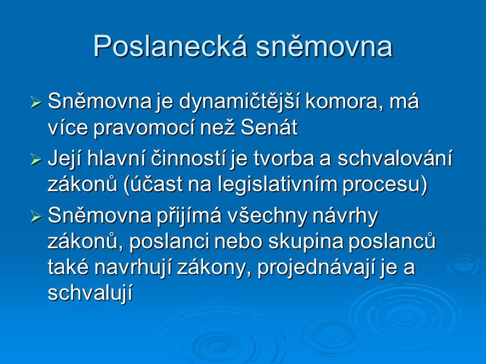 Poslanecká sněmovna Sněmovna je dynamičtější komora, má více pravomocí než Senát.