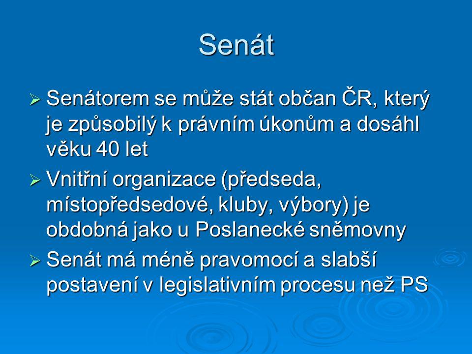 Senát Senátorem se může stát občan ČR, který je způsobilý k právním úkonům a dosáhl věku 40 let.