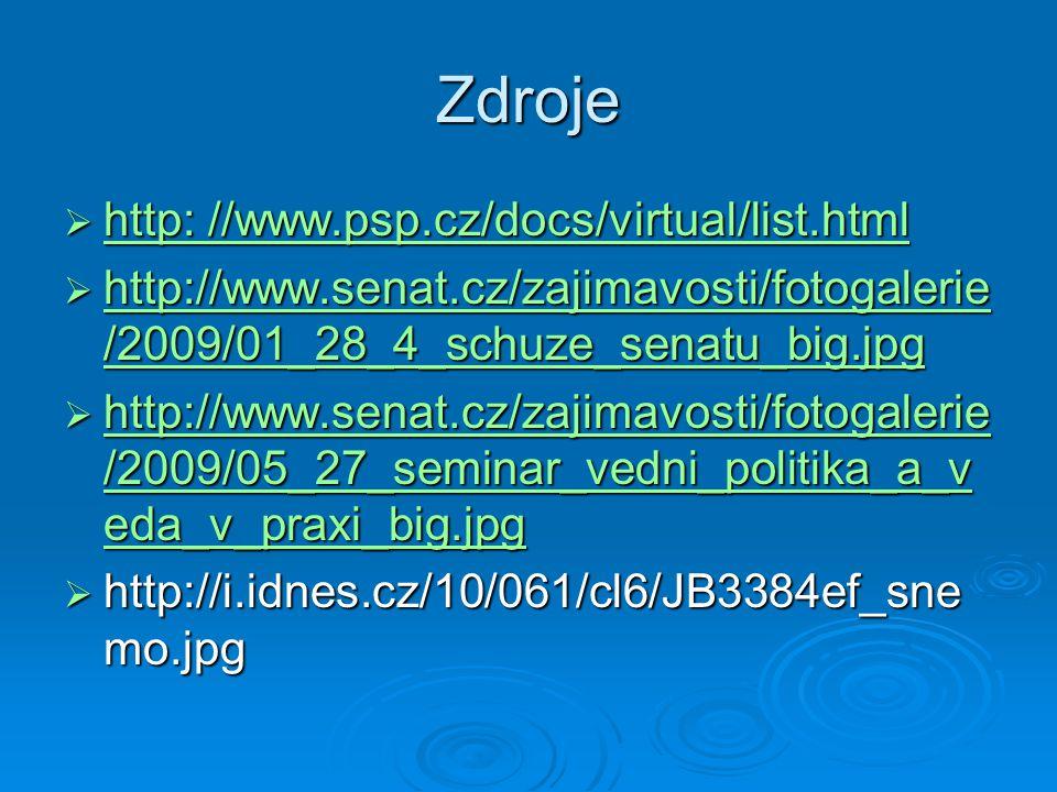 Zdroje http: //www.psp.cz/docs/virtual/list.html