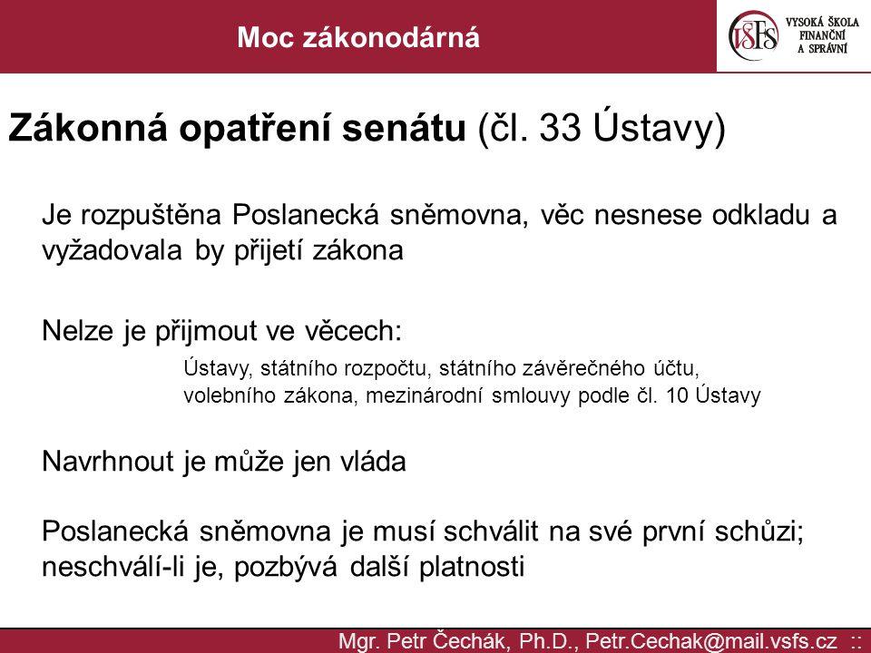 Zákonná opatření senátu (čl. 33 Ústavy)