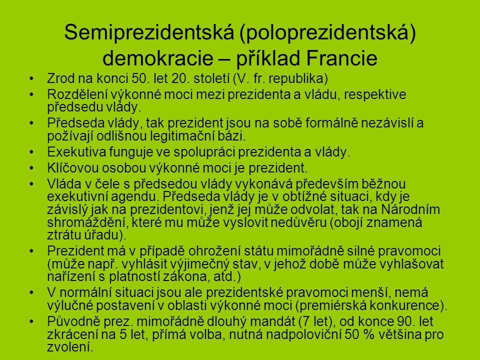 Semiprezidentská (poloprezidentská) demokracie – příklad Francie