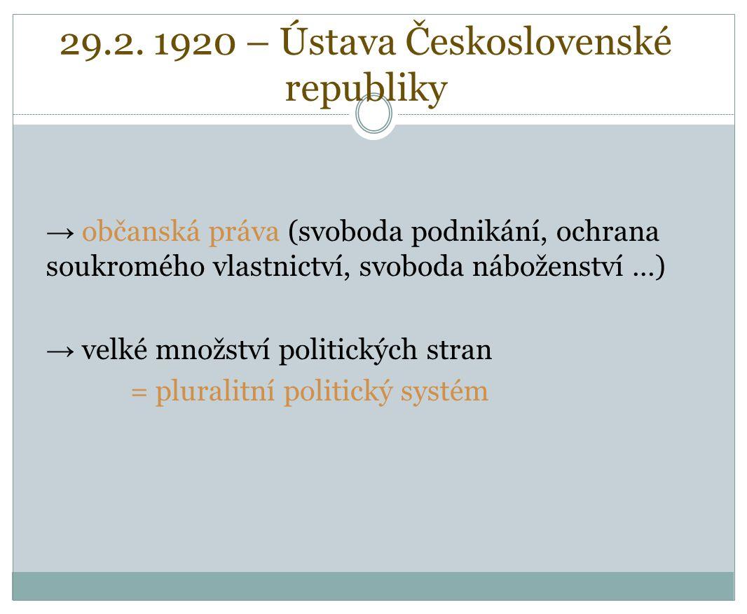 29.2. 1920 – Ústava Československé republiky