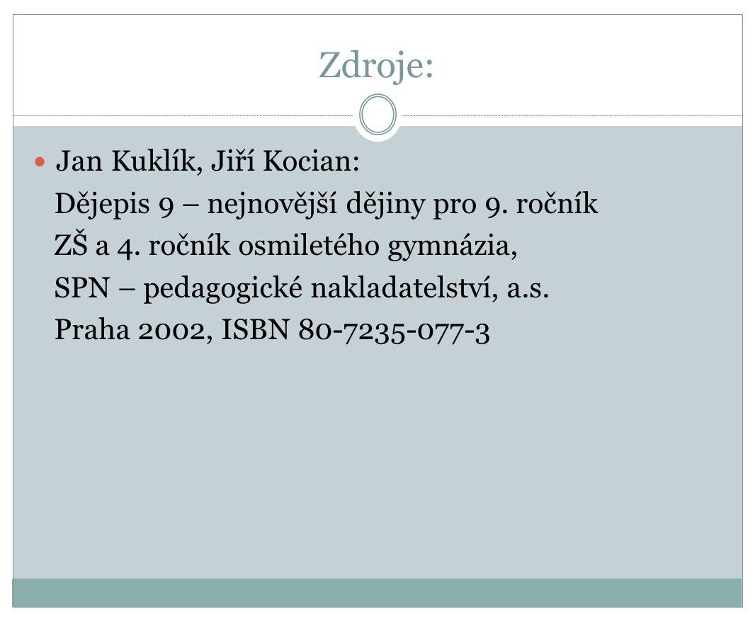 Zdroje: Jan Kuklík, Jiří Kocian: