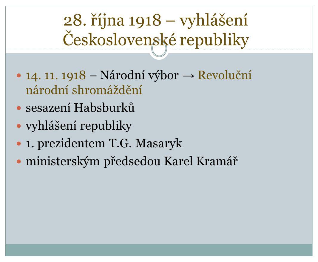 28. října 1918 – vyhlášení Československé republiky