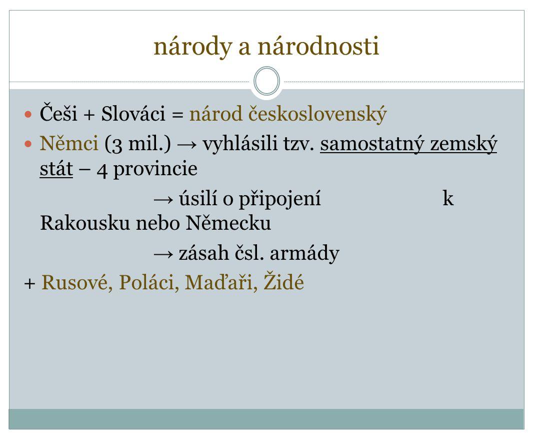 národy a národnosti Češi + Slováci = národ československý