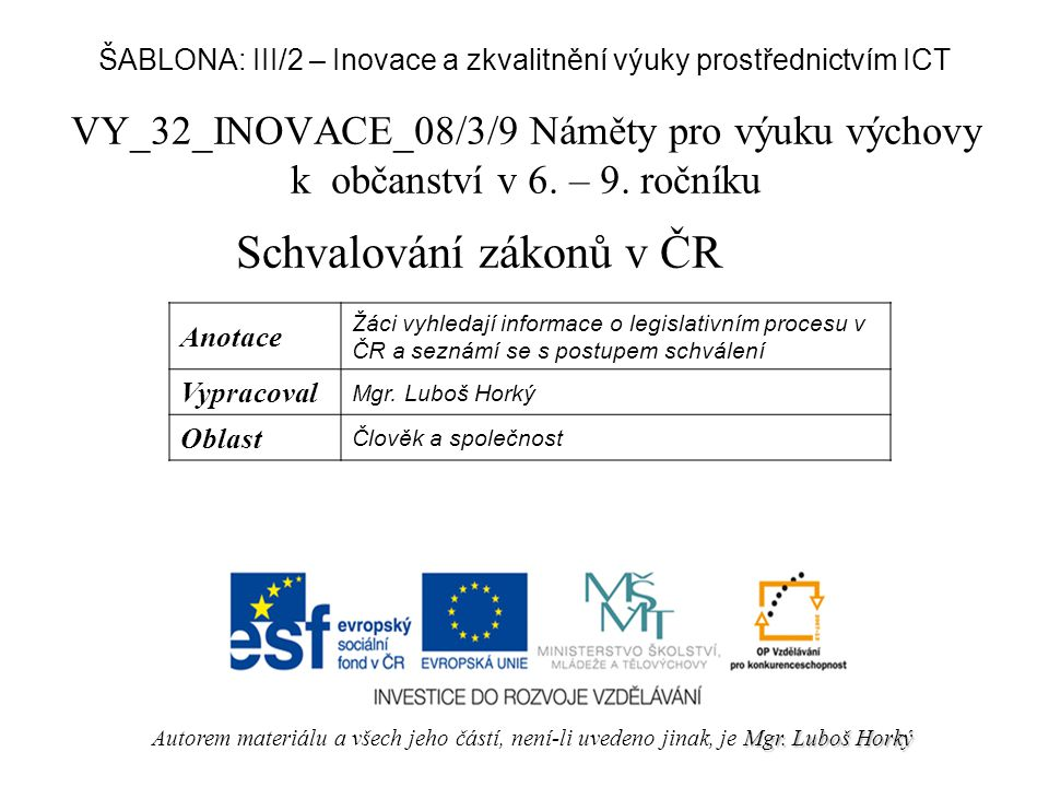 Schvalování zákonů v ČR