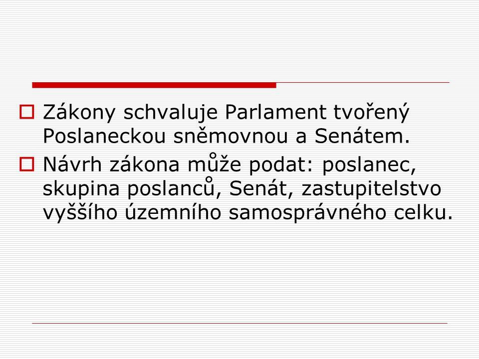 Zákony schvaluje Parlament tvořený Poslaneckou sněmovnou a Senátem.