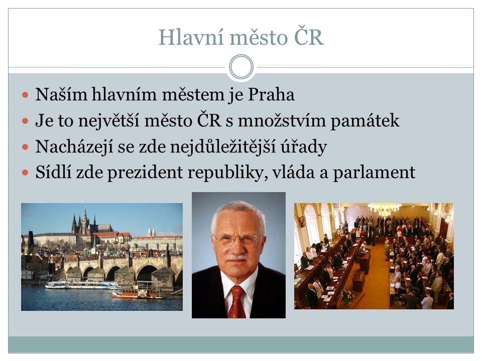 Hlavní město ČR Naším hlavním městem je Praha