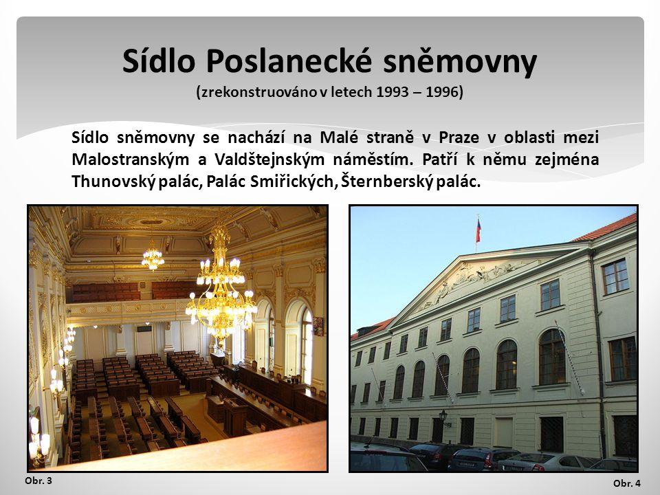Sídlo Poslanecké sněmovny (zrekonstruováno v letech 1993 – 1996)