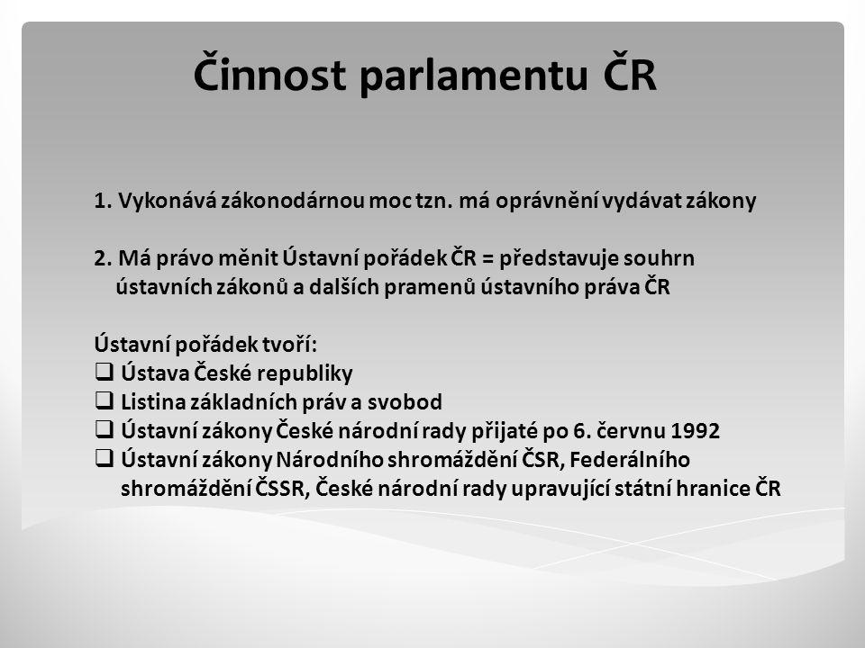Činnost parlamentu ČR 1. Vykonává zákonodárnou moc tzn. má oprávnění vydávat zákony. 2. Má právo měnit Ústavní pořádek ČR = představuje souhrn.