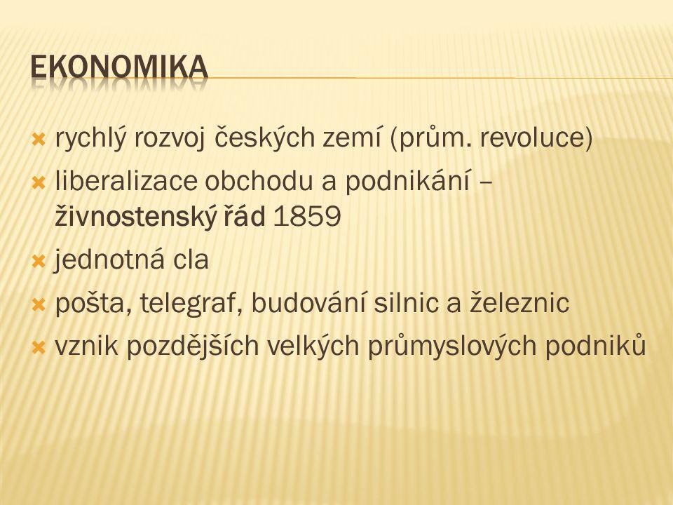 Ekonomika rychlý rozvoj českých zemí (prům. revoluce)