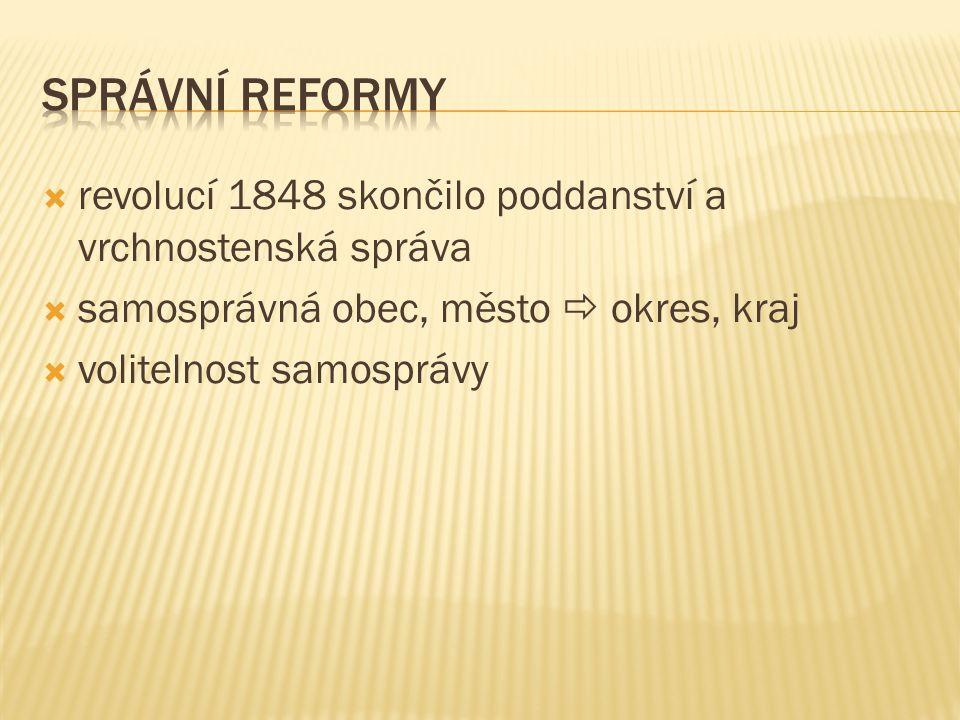 správní reformy revolucí 1848 skončilo poddanství a vrchnostenská správa. samosprávná obec, město  okres, kraj.