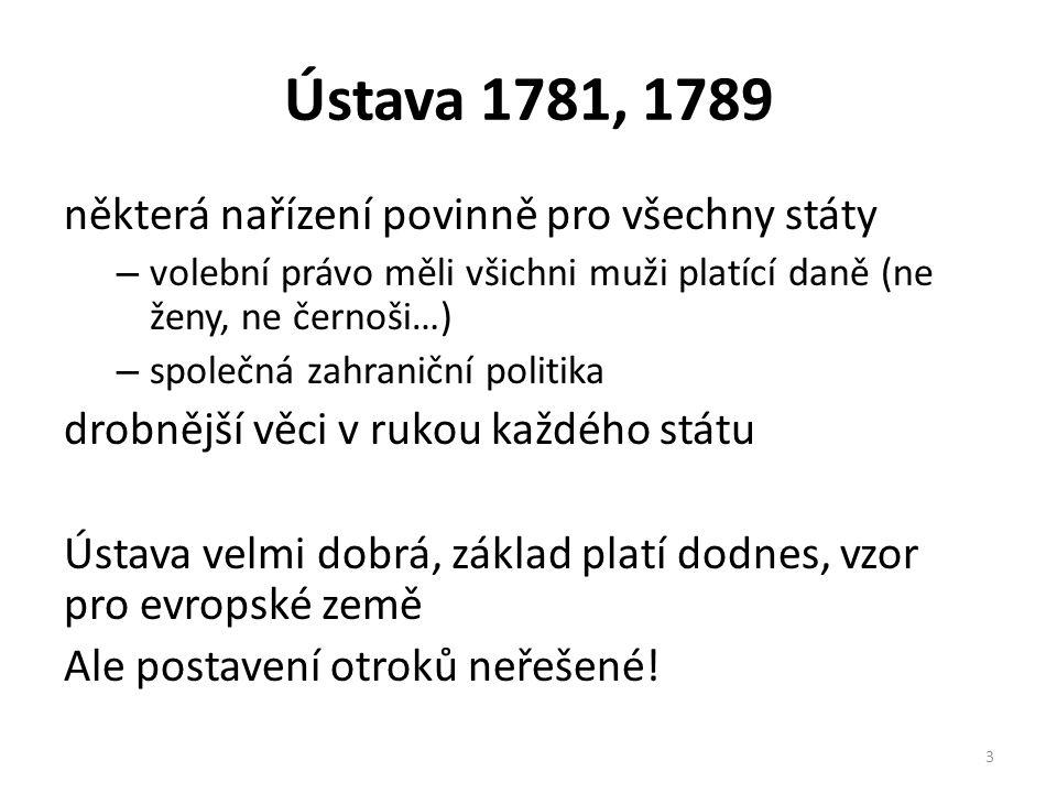 Ústava 1781, 1789 některá nařízení povinně pro všechny státy