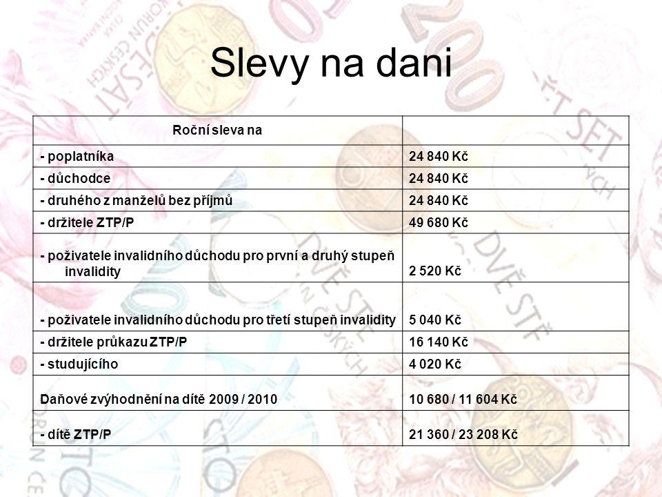 Slevy na dani Roční sleva na - poplatníka 24 840 Kč - důchodce