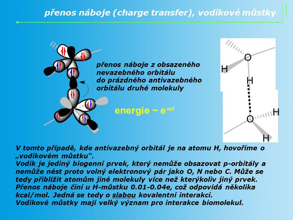 energie ~ e-ar H O přenos náboje (charge transfer), vodíkové můstky