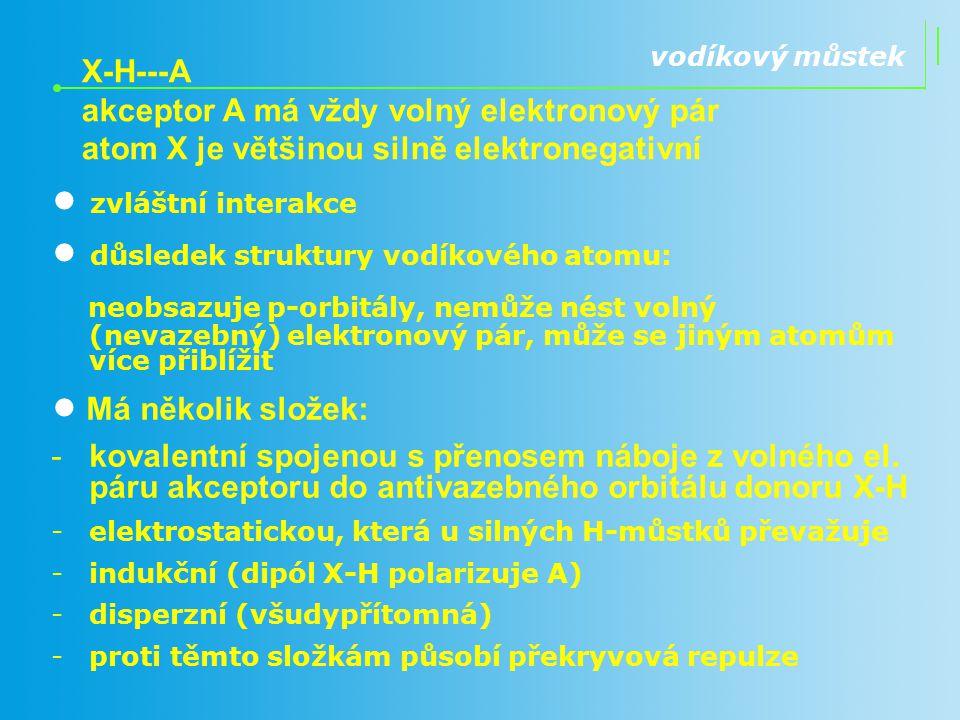 • důsledek struktury vodíkového atomu: