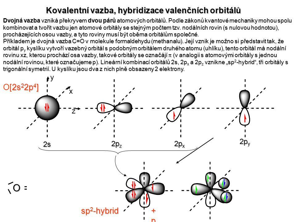 O : C O : C Kovalentní vazba, hybridizace valenčních orbitálů