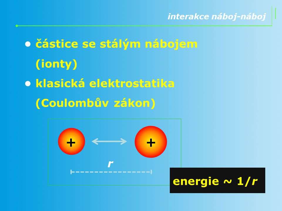 + • částice se stálým nábojem (ionty)