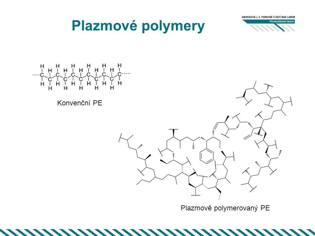Plazmové polymery Konvenční PE Plazmově polymerovaný PE