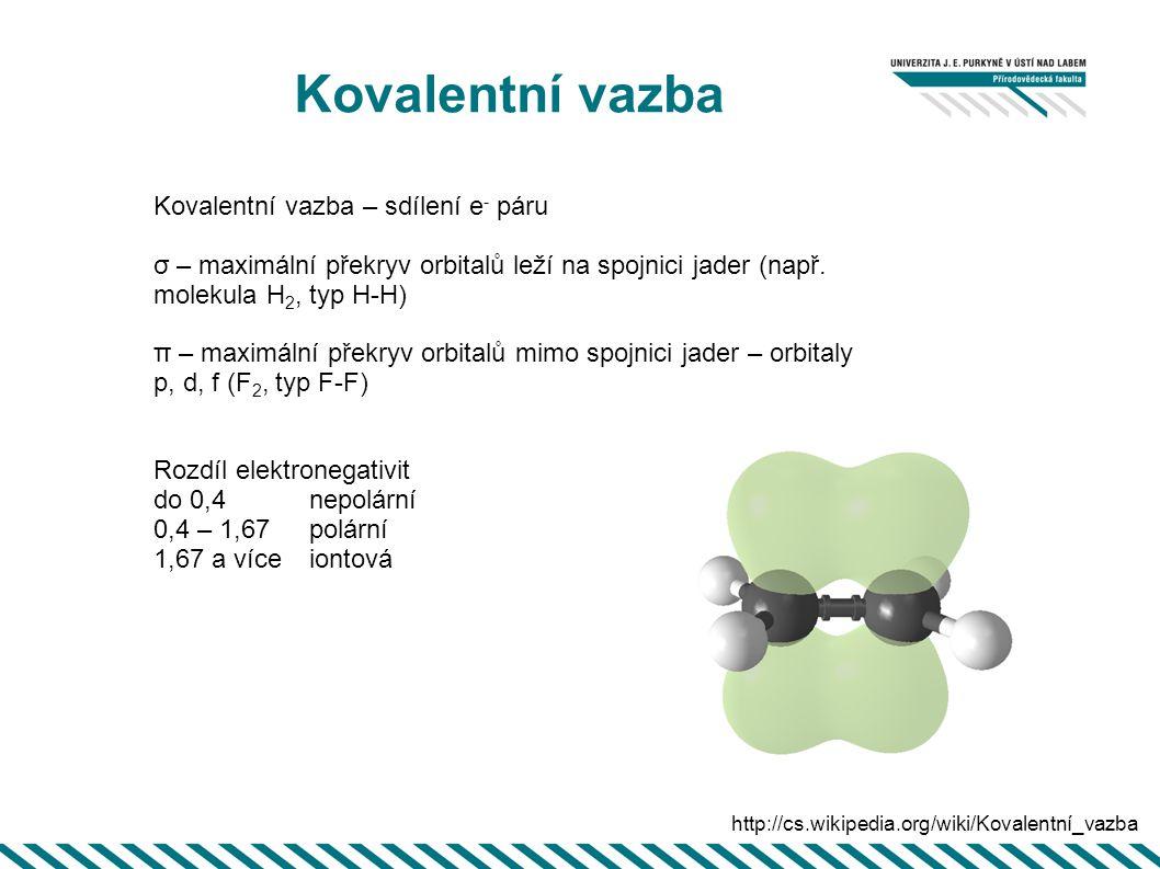 Kovalentní vazba Kovalentní vazba – sdílení e- páru