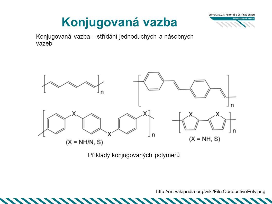 Konjugovaná vazba Konjugovaná vazba – střídání jednoduchých a násobných vazeb. Příklady konjugovaných polymerů.