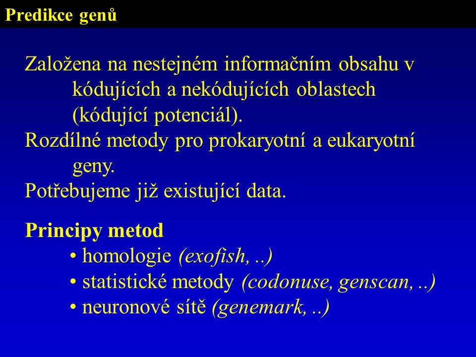 Rozdílné metody pro prokaryotní a eukaryotní geny.