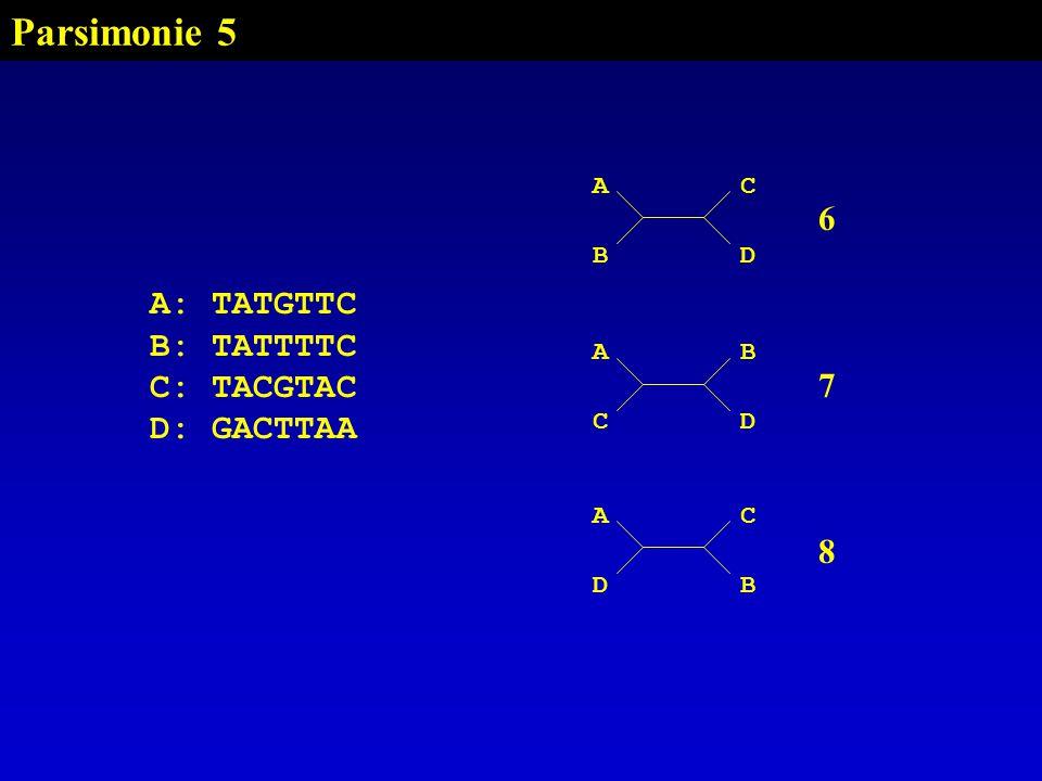 Parsimonie 5 6 7 A: TATGTTC B: TATTTTC C: TACGTAC D: GACTTAA 8 A C B D