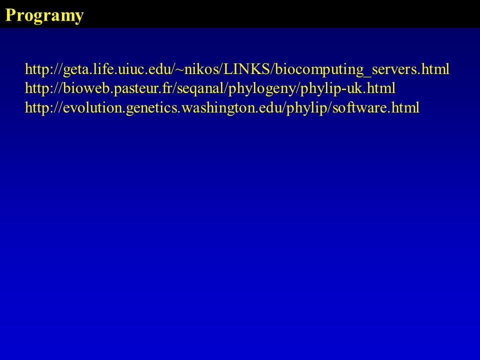Programy http://geta.life.uiuc.edu/~nikos/LINKS/biocomputing_servers.html. http://bioweb.pasteur.fr/seqanal/phylogeny/phylip-uk.html.