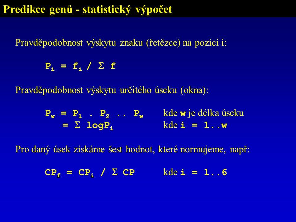 Predikce genů - statistický výpočet