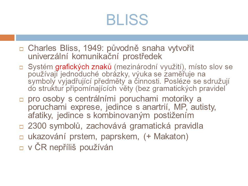 BLISS Charles Bliss, 1949: původně snaha vytvořit univerzální komunikační prostředek.