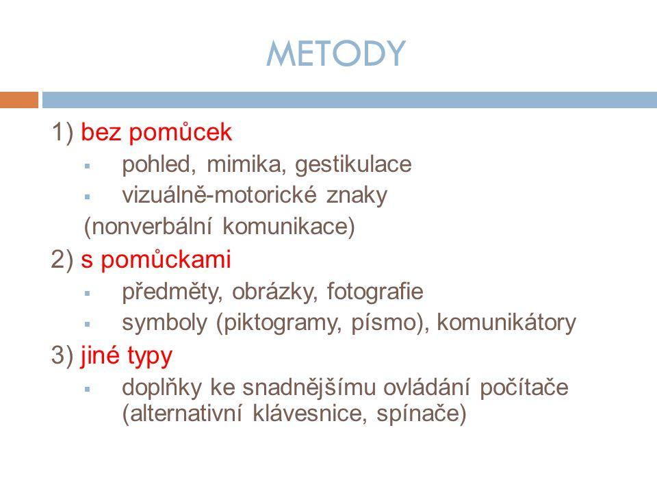 METODY 1) bez pomůcek 2) s pomůckami 3) jiné typy