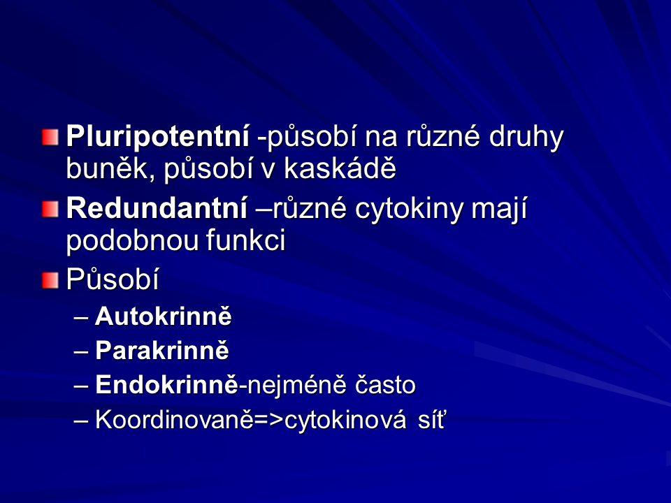 Pluripotentní -působí na různé druhy buněk, působí v kaskádě