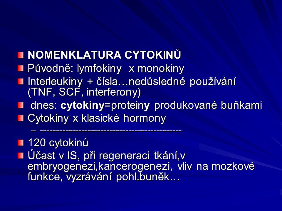 NOMENKLATURA CYTOKINŮ Původně: lymfokiny x monokiny