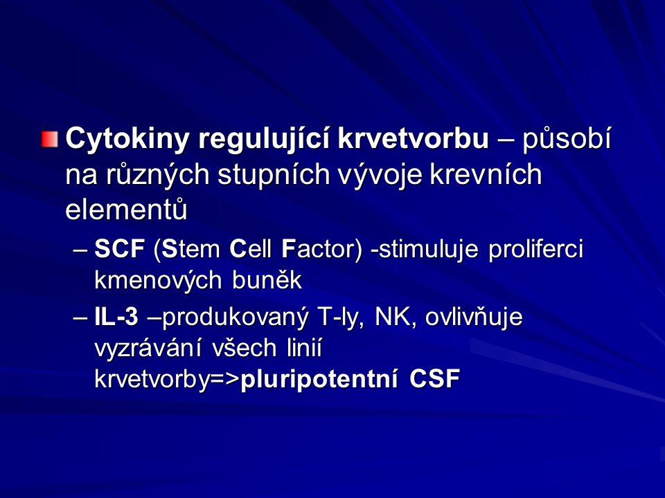 Cytokiny regulující krvetvorbu – působí na různých stupních vývoje krevních elementů