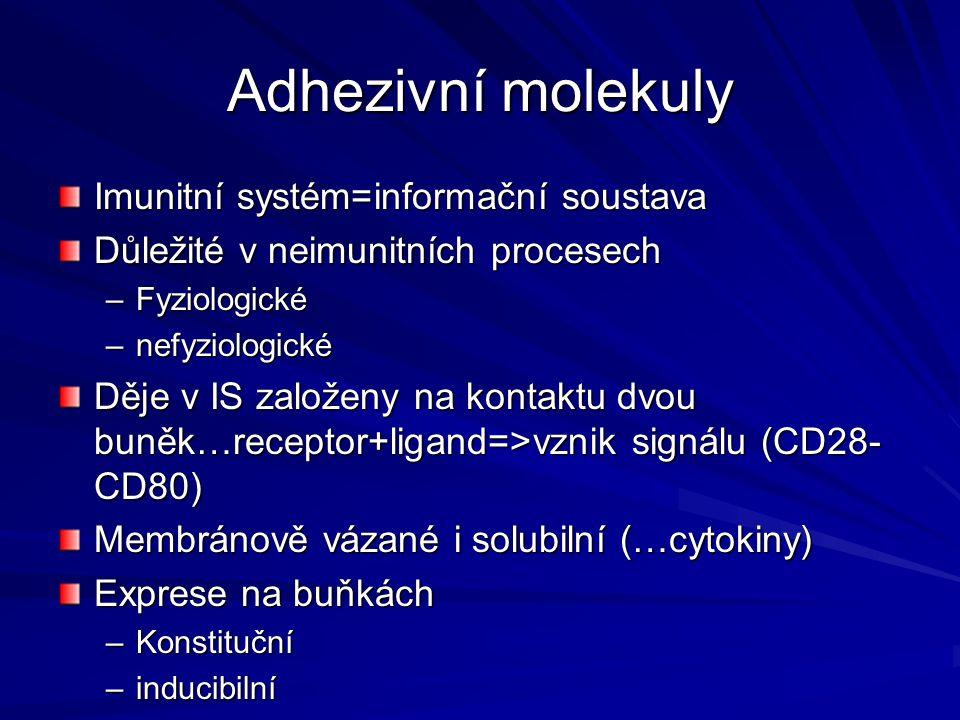 Adhezivní molekuly Imunitní systém=informační soustava